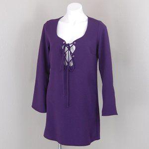 Nasty Gal | NWT purple lace up cutout dress | M